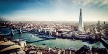 Panoramic view of central London, including The Shard, HMS Belfast and Mayor of London
