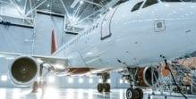 Aircraft in a hangar