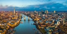 Panoramic aerial skyline view of London including Tower Bridge, Tower of London and The Shard