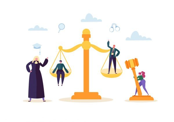 graphic of scales of justice surrounded by lawyers