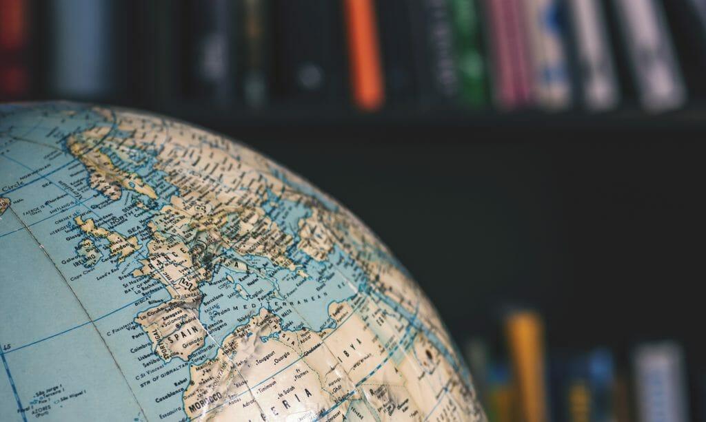 Display globe showing map of Europe