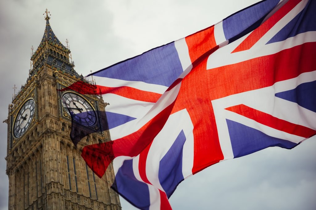 Close up of Union Jack flag and Big Ben