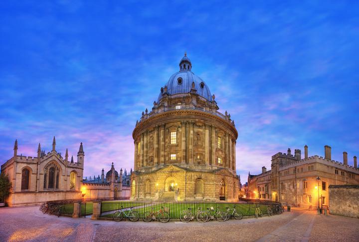 Oxford university at dusk