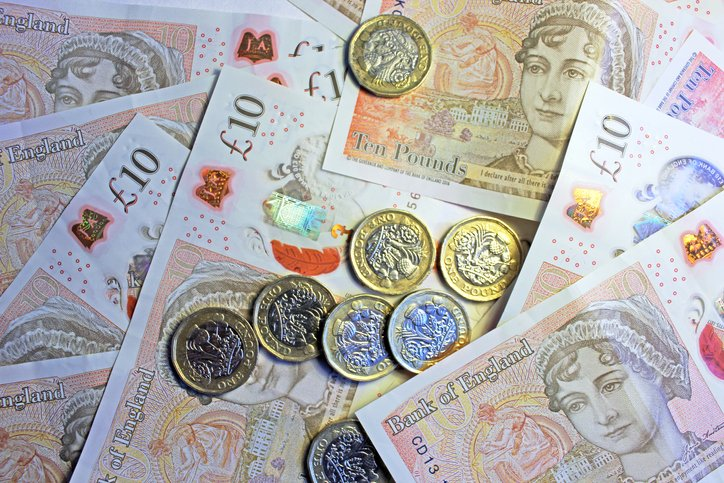 british sterling - close up of notes and coins