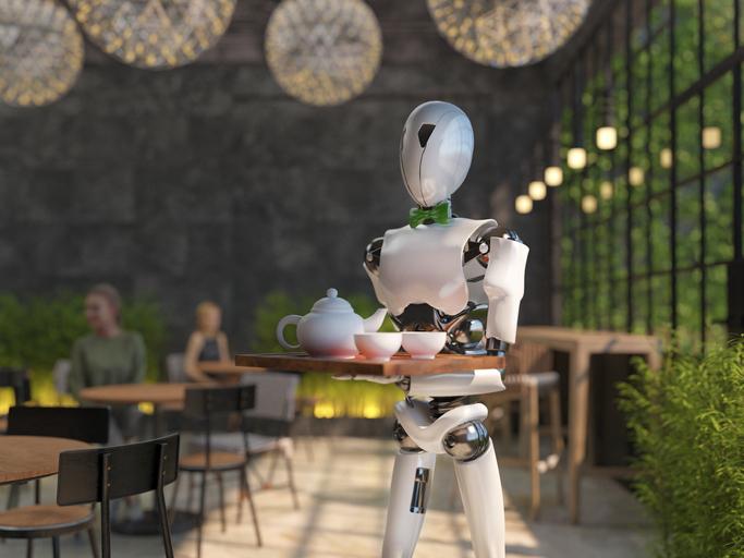 Robot serving food in a restaurant