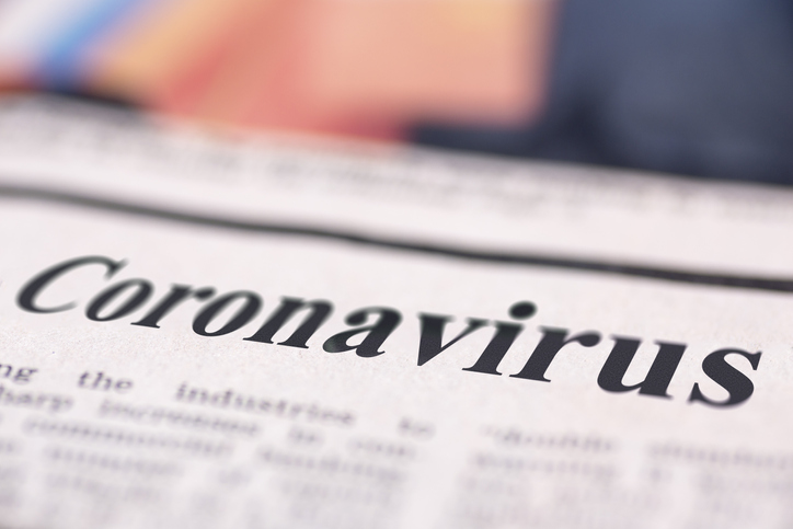Headline on a newspaper reading Coronavirus