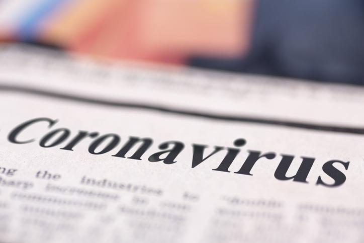 Headline on a newspaper reading Coronavirus