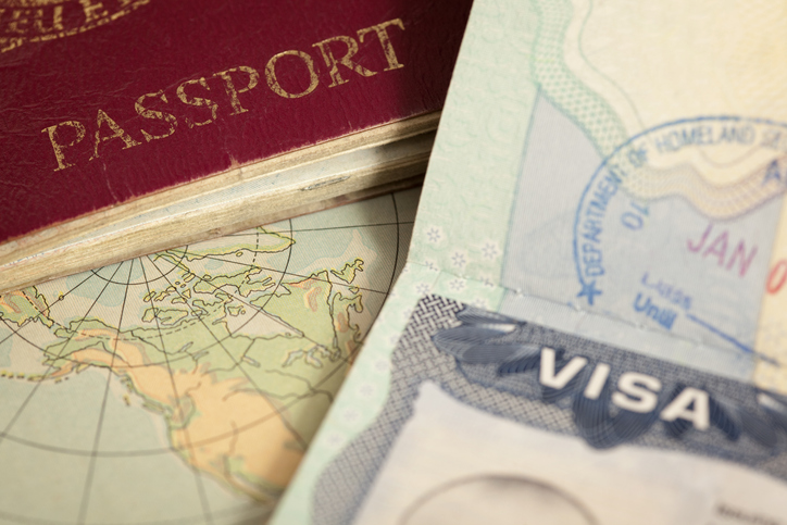 Visa and passport closeup