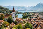Bird's eye view of a quaint Swiss village